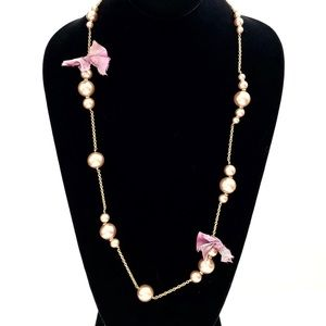 J. CREW pink pearlized bead & purple bow necklace